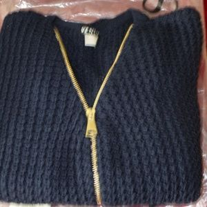 Sexy Navy Blue Zip Up V-Neckline Sweater